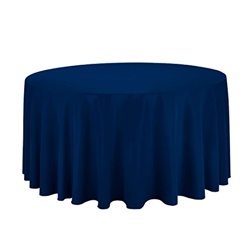 Craft and Party - 10 pcs Round Tablecloth for Home, Party, Wedding or Restaurant Use. (Navy Blue, 120'' Round) by Craft & Party