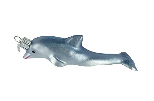 Old World Christmas Sea and Water Animals Glass Blown Ornaments for Christmas Tree Playful Dolphin (Glass Dolphin Ornaments)