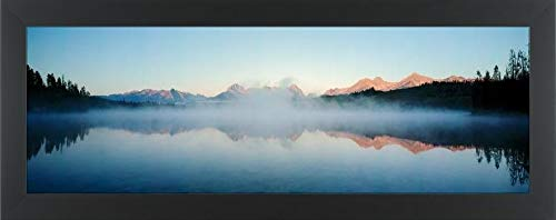 Easy Art Prints Panoramic Images's 'Reflection of Mountains, Little Redfish Lake, Sawtooth Mountains, Sawtooth National Recreation Area, Idaho, USA' Framed Canvas Art - 36