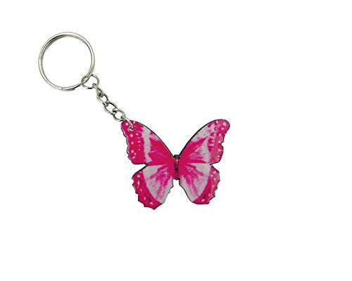 Butterfly Graphic Dangle Handmade Keychain Silver Keyring Hanging Ornament Charm Car Bag Accessory (Hot Pink)