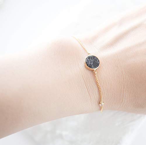 Dainty Black Simulated Howlite Stone Delicate Gold Plated Chain Bracelet
