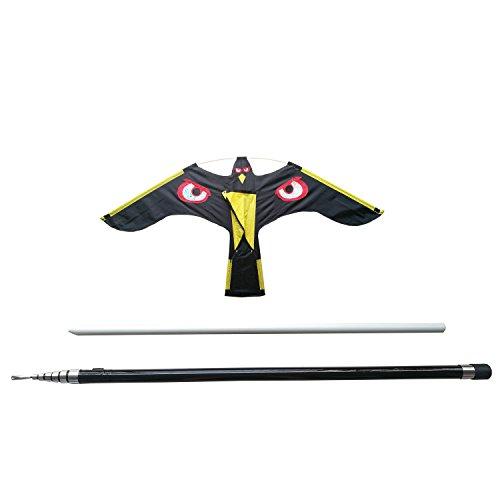 Bird Repeller Black Flying Hawk kite,large eagle kites Scarecrow Decoy for Farm Garden Pest Bird Scarer With 7 Meters Telescopic Pole (Reflect kite)