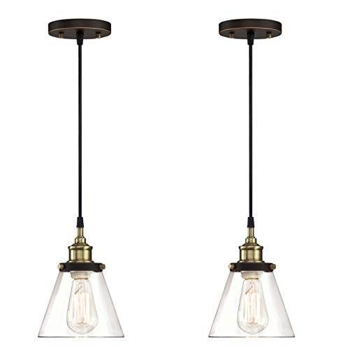 WISBEAM Pendant Lighting Fixture with Oil Rubbed Bronze and Brass Finish, Hanging Lights with One Medium Base Max. 60 Watts, ETL Rated, 2-Pack