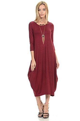 (Pastel by Vivienne Women's Cocoon Midi Dress Large Burgundy)