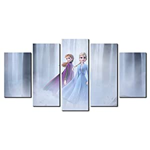 5 Piece Frozen 2 Canvas Painting for Living Room Home Decor Canvas Art Wall Poster (No Frame) Unframed (22in x40in,No Frame)