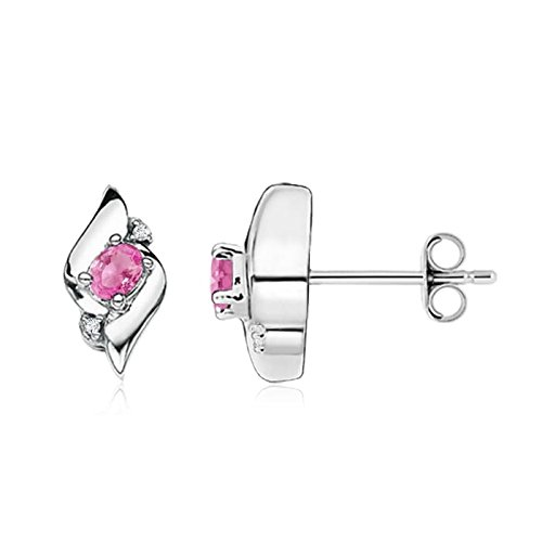 Oval Pink Shell Earrings - Shell Design Oval Pink Sapphire and Diamond Stud Earrings for Women in Silver (4x3mm Pink Sapphire)