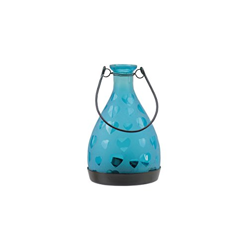 "6.25"" Frosted Blue Hearts Glass Bottle Tea Light Candle Lantern Decoration"