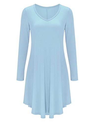 AMZ PLUS Women Irregular Hem Long Sleeve Loose Shirt Dress Top (XL, Light Blue)
