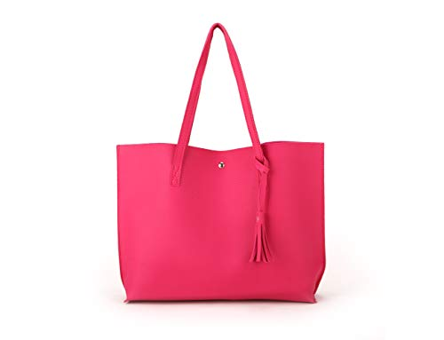 Nodykka Women Tote Bags Top Handle Satchel Handbags PU Pebbled Leather Tassel Shoulder Purse
