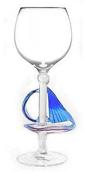 Hand Blown Sailboat Wine Glass by Yurana Designs - -
