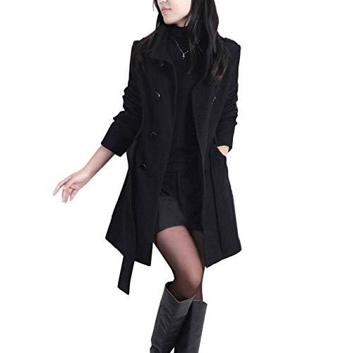 Mashiaoyi Femme Hiver Slim Ceintur Caban Au Genou Laine Trench Manteau Noir