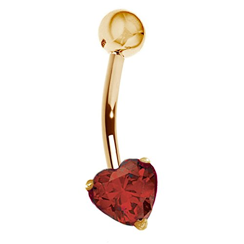 14k Yellow Gold Genuine Garnet Heart Belly Button Navel Ring Body Art (Belly Gold Ring 14k Button)