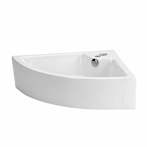 (Small Bathroom Corner Sink Above Counter Angled Vessel Single Faucet Hole And Overflow Hole Space Saving Scratch Resistant Design)
