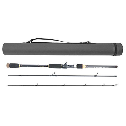 JEKOSEN Portable Travel Casting/Spinning Bass Fishing Rods with Tube Case,Lightweight Carbon Fiber Fishing Pole, Fresh Water,Medium Power,Smooth Guides&Durable Reel Seats,6ft-9ft