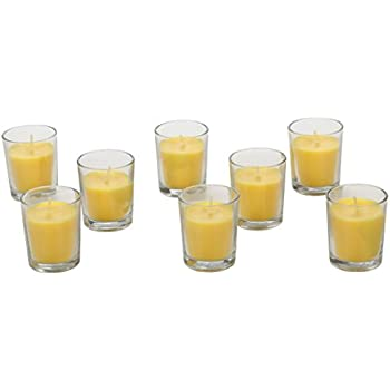 Hosley Premium, Highly Scented Set of 8, Citronella, Rosemary, Sage, Lemon Grass blend, Essential Oils, Votive Candles in Clear Glass. Burns upto 12 hours each. Great Gift for Home, Patio, Gardens