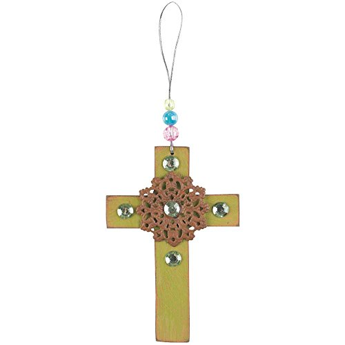 Wrath Sin Costume (Olive Green Pretty Costume Bead Brooch 4 x 5.5 Wood and Metal Wall Hanging Cross Decoration)