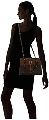 Calvin Klein Rae Monogram Satchel, Brown/Khaki/Luggage Saffiano