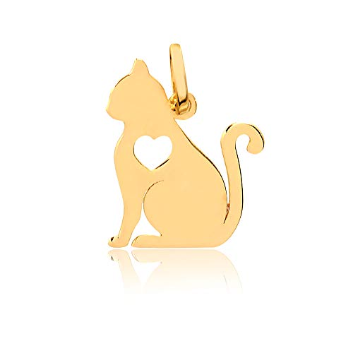 14k Solid Yellow Gold Cat with Heart Shaped Pendant for Necklace for Women