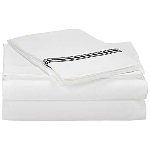 Clara Clark Designer White Sheet Set Cal King Size, 1800 Collection,  5 Stripe Embroidered, Navy Blue