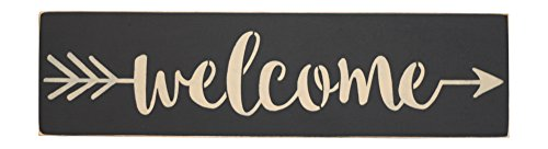 - Welcome Sign Wood Primitive Style Black with Arrow