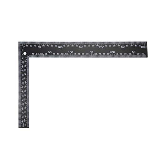 uxcell Leathercraft Black Tempered Stainless Steel Measuring Square Ruler for DIY Leather Handmade Sewing Tools 0-300mm 0-12inch Scale