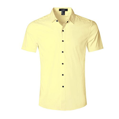 Gilbeti Mens Slim Fit Solid Dress Shirts Button Down Cotton Short Sleeve Shirt Yellow Large