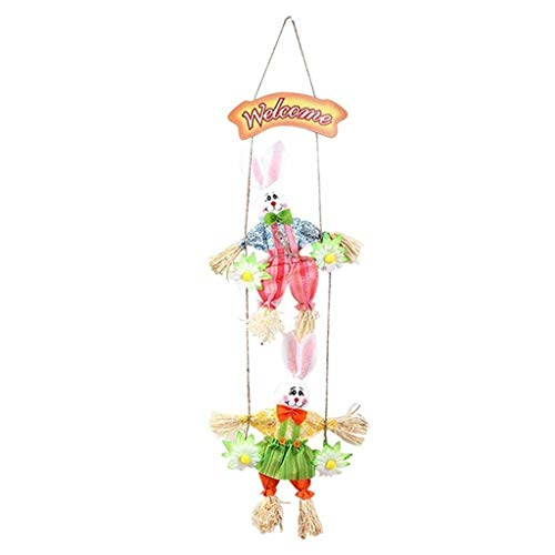 Lemoning Easter Rabbit Swing Pendant Scarecrow Double Bunny