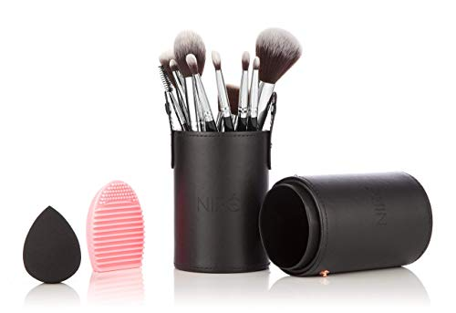NIRÉ BEAUTY Pro 12-Piece Makeup Brushes Set with Holder, Silicone Brush Cleaner and Blender