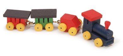 Miniature Toy Wood (Miniature - Painted Wood Tiny Train - .75 inch - 1 set)