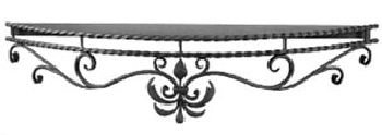 10' Deep Shelf - Wrought Iron Mantle Shelf 60'' long , 10'' deep at center