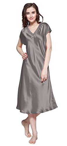 (LilySilk Plus Size Silk Nightgown Long V Neck 22 Momme Mulberry Silk Chemise Dark Gray Size 18/XXL)