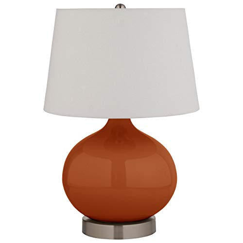 Stone & Beam Round Ceramic Table Desk Lamp with Light Bulb - 11 x 11 x 20 Inches, Burnt Orange and White Shade