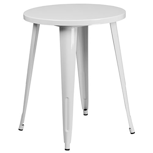 Flash Furniture 24'' Round White Metal Indoor-Outdoor Table (Tavern Sale For Tables)