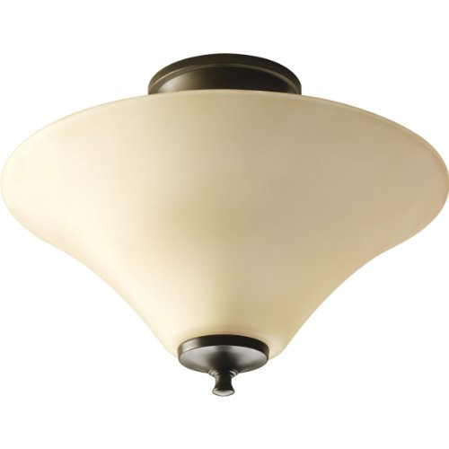 White Trumpet Glass Shade - Progress Lighting P3855-20 2-Light Semi-Flush with Modern Trumpet Glass Shade in A Soft Etched Tea-Stained Finish, Antique Bronze
