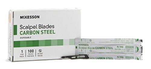McKesson Brand - Surgical Blade - Carbon Steel - Size 15 - Sterile Disposable - Knife Edge - 100pcs/Box