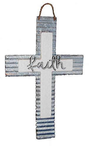 Changing Seasons Easter Spring White Wood and Metal Cross (Faith Cross)