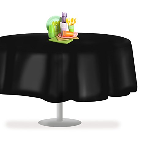 Black 84 Round 12 Pack Premium Disposable Plastic Tablecloth 84 Inch Round Table Cover By Grandipity