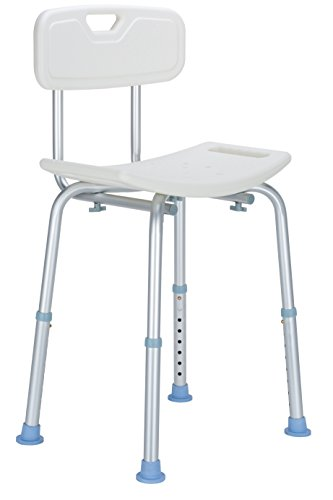 OasisSpace Shower Chair with Back, Heavy Duty Adjustable Shower Seat Stool - Medical Tool Free Anti-Slip Bathtub Seat Bench Lightweight and Durable for Elderly, Senior, Handicap, - Shower Portable Bench Bathtub