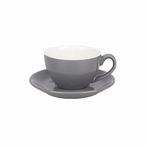 DHWM-Coloured Glaze Ceramic Coffee Cup Saucer European Latte Cup Big Mouth Black Tea Cup Matte Cup 220Ml ()