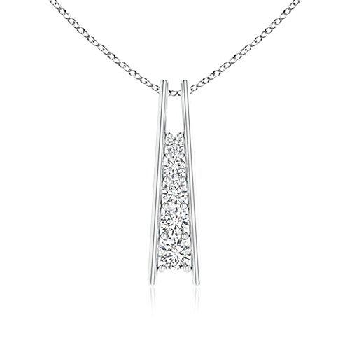 Five Stone Diamond Journey Ladder Pendant in Platinum (3.8mm Diamond)