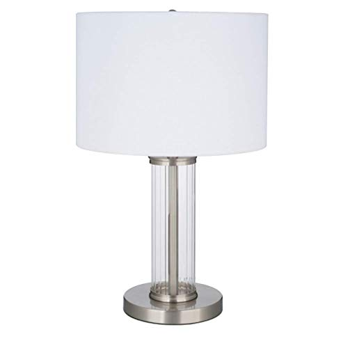 Ravenna Home Clear Ribbed Glass Cylinder Table Lamp With LED Light Bulb - 13 x 13 x 21 Inches, Brushed Nickel