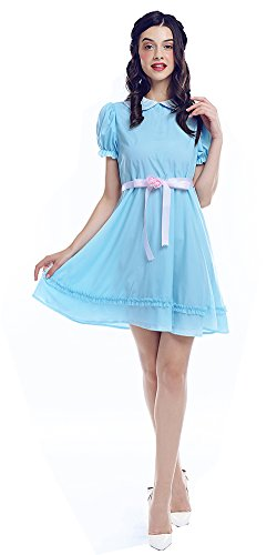 ROLECOS Lolita Dress Blue Chiffon Dress Puff Sleeve Halloween Party Cosplay Costume (22w) -