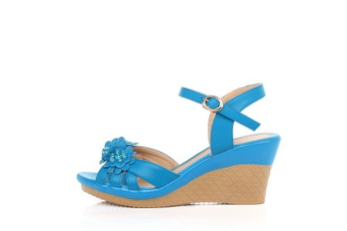 Amoonyfashion Donna Open Toe Tacco Alto In Microfibra In Morbido Materiale Sandali Solidi Blu