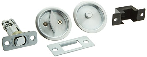 Bath Pocket Door Lock - Kwikset 335 Round Bed/Bath Pocket Door Lock in Satin Chrome