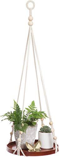 Mkono Macrame Plant Hanger Indoor Hanging Planter Shelf Decorative Flower Pot Holder Boho Bohemian Home Decor for Succulents, Cacti, Herbs, Small Plants ()