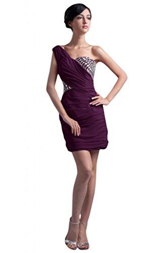 feste Abito asimmetrico tema raso elegante damigella d'onore a Grape per Sunvary per in fodera abito wqHXRgPx