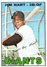 1967 Topps Regular (Baseball) Card# 220 Jim Hart of the San Francisco Giants VG Condition