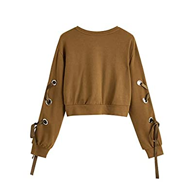 SweatyRocks Women's Casual Lace Up Long Sleeve Pullover Crop Top Sweatshirt at Women's Clothing store