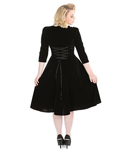 H&R London 50s Style Nightshade Velours Robe Soirée Noir