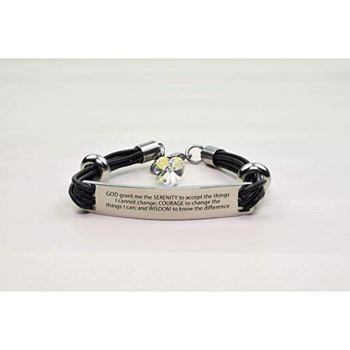 Swarovski Crystal Prayer Box Bracelet - Pink Box Genuine Leather ID Bracelet with Crystals from Swarovski - SERENITY PRAYER